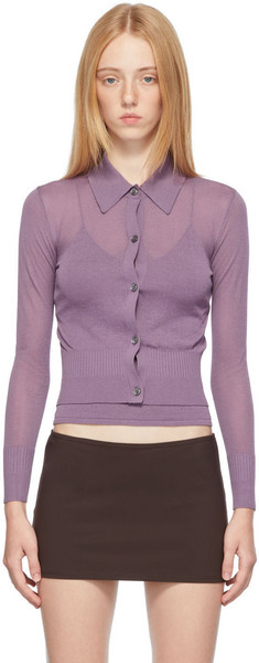 Maryam Nassir Zadeh SSENSE Exclusive Purple Ceylon Cardigan in lilac