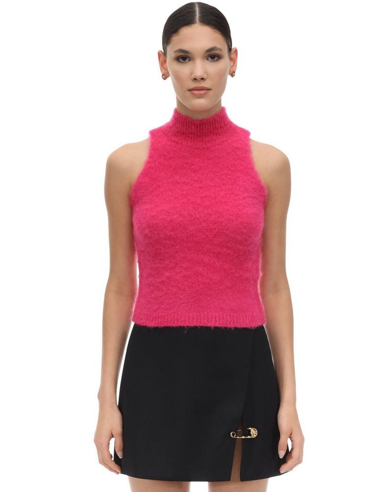 VERSACE Halter Neck Mohair Blend Knit Crop Top in fuchsia