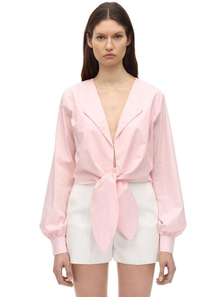 AYA MUSE Cropped Self-tie Poplin Top in pink