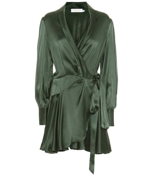 Zimmermann Espionage silk wrap minidress in green