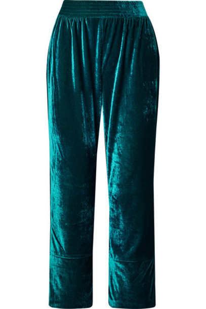 PatBO - Cropped Velvet Wide-leg Pants - Teal