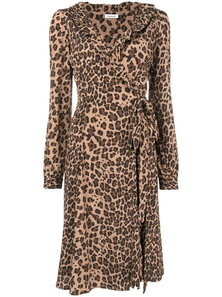 P.A.R.O.S.H. wrap leopard dress in brown