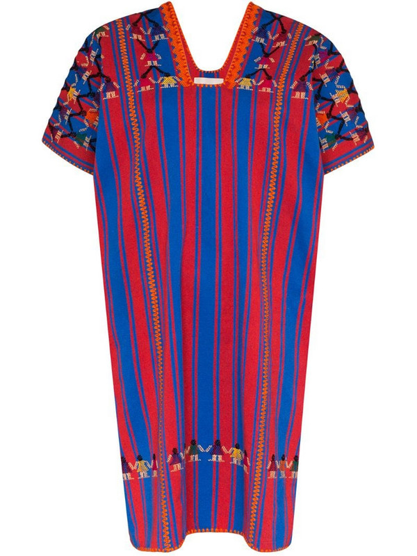 Pippa Holt embroidered striped cotton kaftan in red