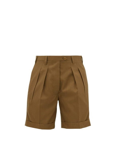 Giuliva Heritage Collection - Double Pleat Tailored Wool Shorts - Womens - Brown