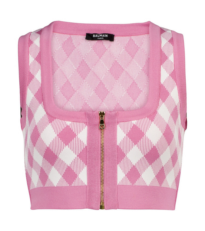 Balmain Checked jacquard crop top in pink