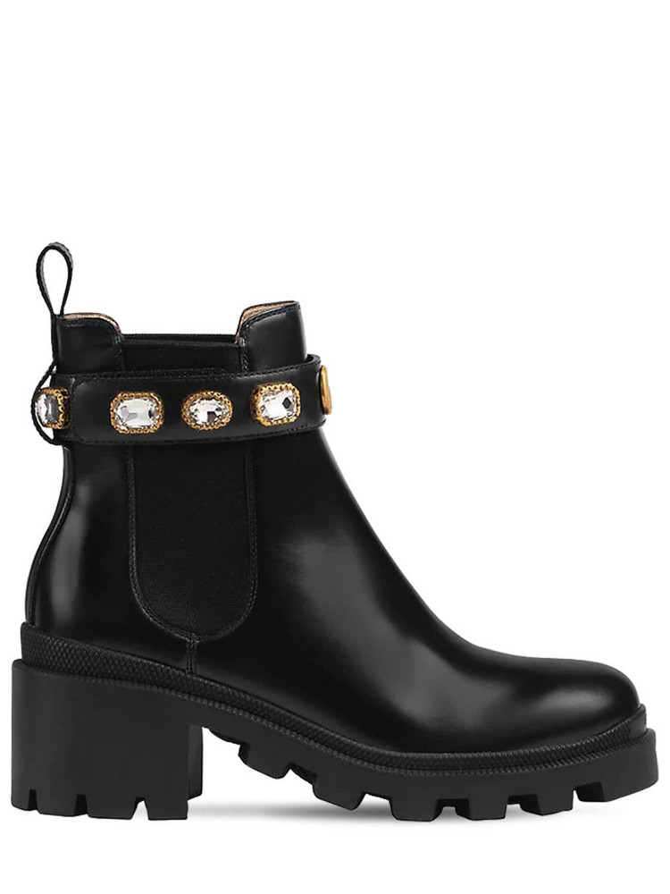 GUCCI 40mm Trip Embellished Leather Boots in black