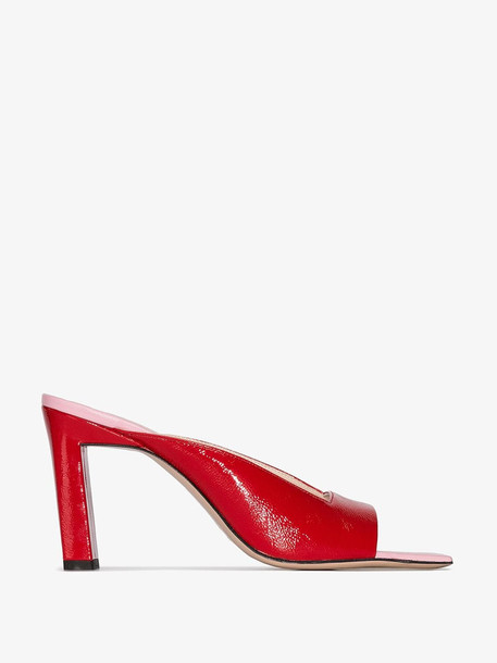 Wandler Red Isa 85 Leather Square Toe Mules