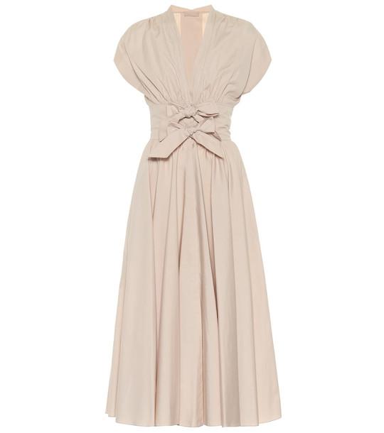 Alaïa Cotton-poplin midi dress in beige