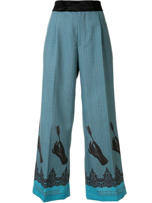 Undercover leg-print flared trousers in blue