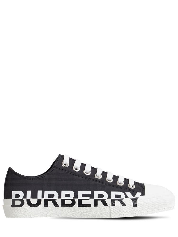 BURBERRY 20mm Larkhall Check Canvas Sneakers in black / grey