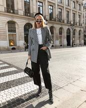 jacket,blazer,black and white,balenciaga,sock boots,black boots,wide-leg pants,black pants,high waisted pants,prada bag,black bag,white t-shirt,beret