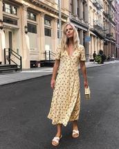 dress,midi dress,floral dress,sandals,bag