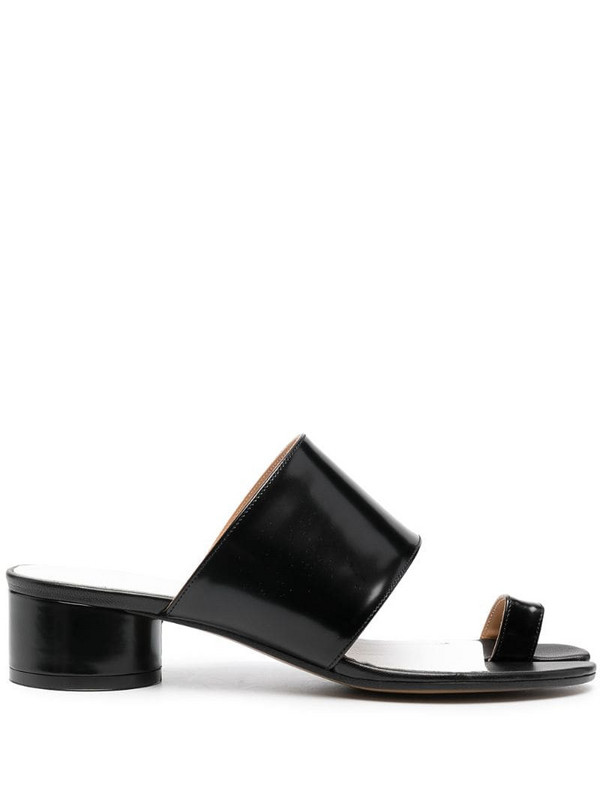 Maison Margiela Tabi toe-ring leather sandals in black