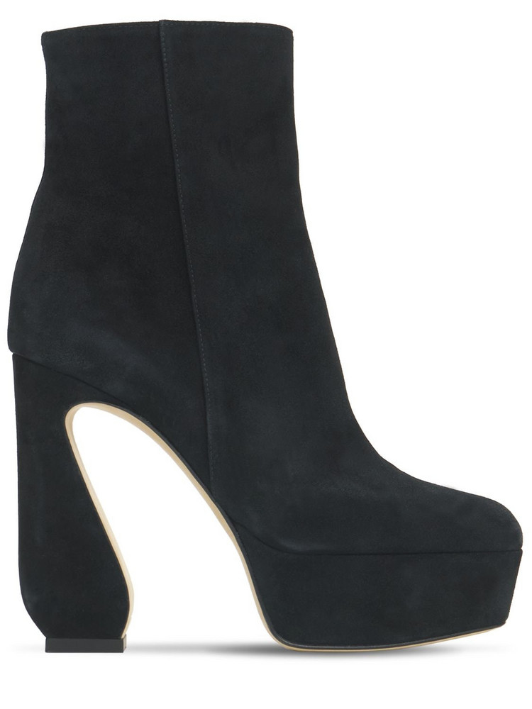 SI ROSSI 125mm Platform Suede Ankle Boots in black