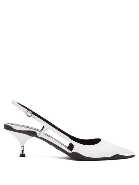Prada - Rubber Sole Slingback Leather Pumps - Womens - White