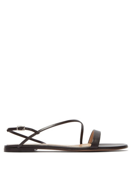 Gianvito Rossi - Simple Strap Leather Slingback Sandals - Womens - Dark Brown
