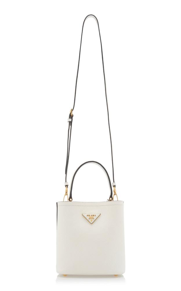Prada Mini Calf Leather Bucket Bag in white