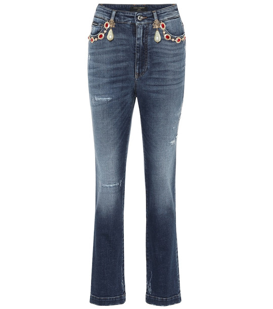 Dolce & Gabbana Embellished high-rise straight jeans in blue
