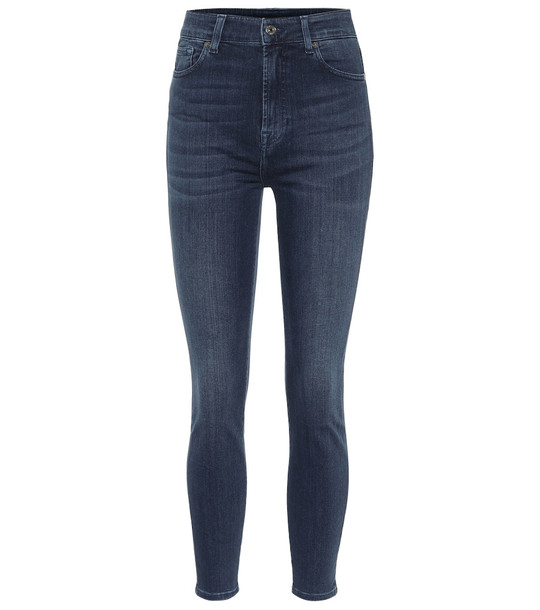 7 For All Mankind Aubrey Slim Illusion Luxe high-rise skinny jeans in blue