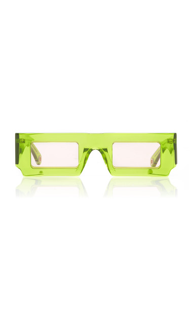 Jacquemus Rectangle-Frame Acetate Sunglasses in green