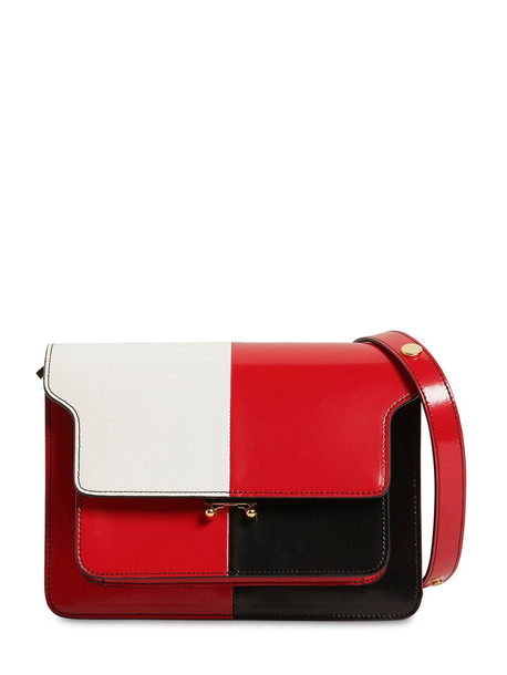 MARNI Medium Trunk Color Block Leather Bag in black / red / white