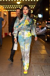 pants,priyanka chopra,two-piece,top,celebrity,spring,spring outfits