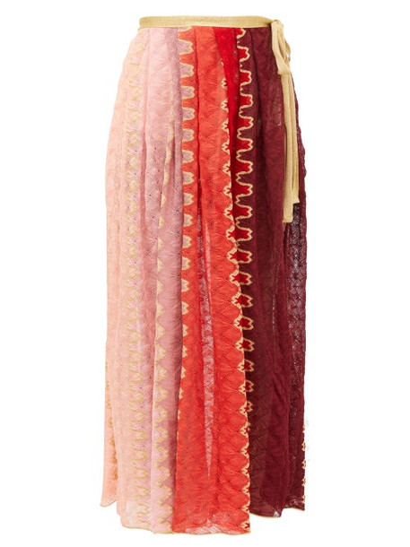 Missoni Mare - Wrap-around Knitted Midi Skirt - Womens - Pink Multi