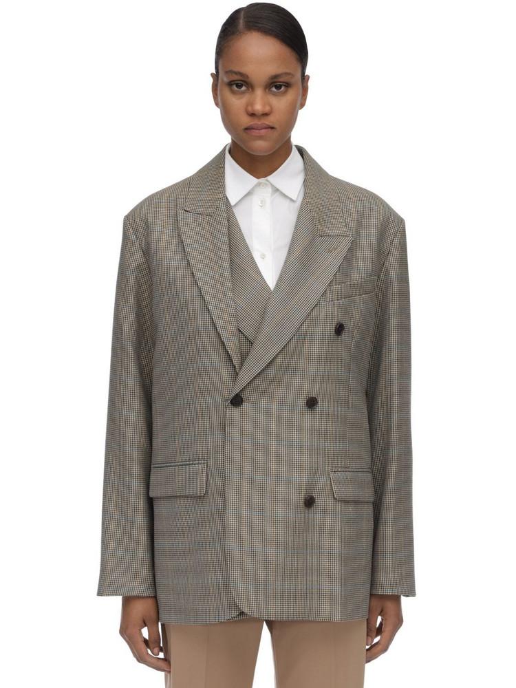 ROKH Oversize Layered Wool Blend Blazer in beige