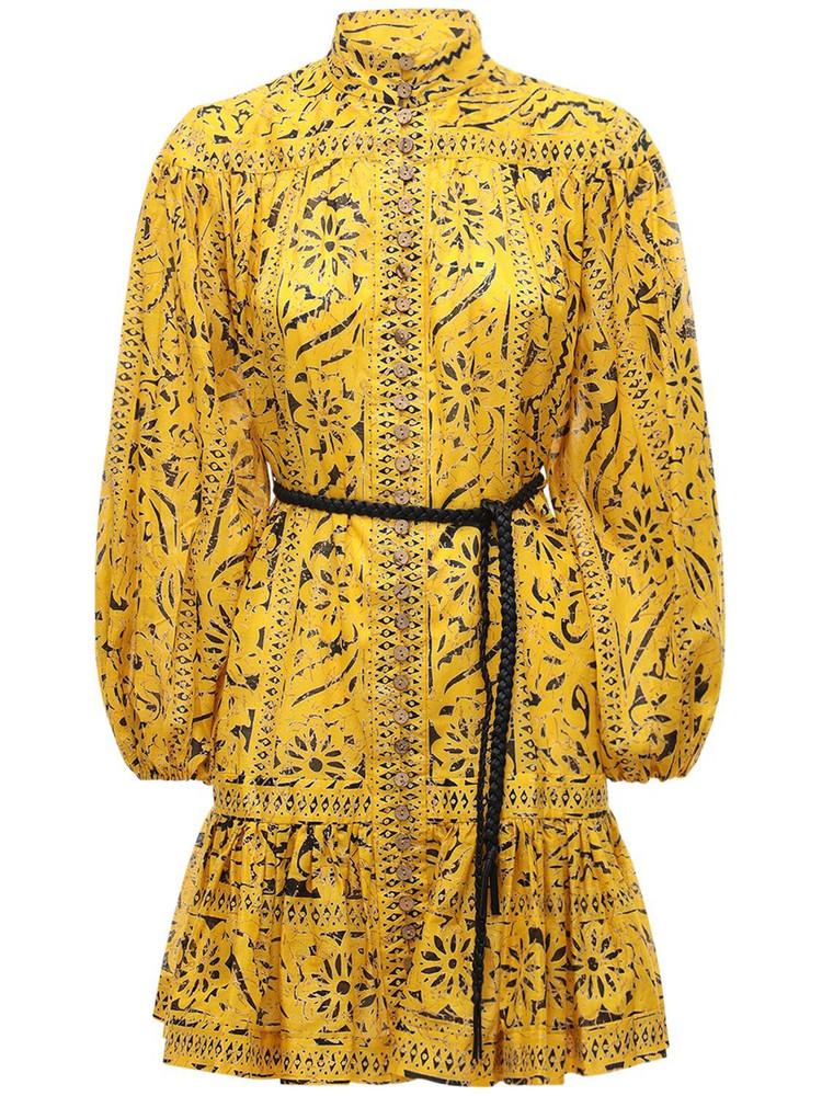 ZIMMERMANN Lulu Drop Waist Cotton Mini Dress in yellow