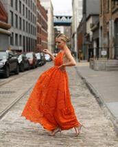 dress,maxi dress,orange dress,sleeveless dress,asos,lace dress,sandal heels