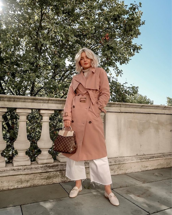 coat trench coat cropped pants wide-leg pants white pants loafers bag