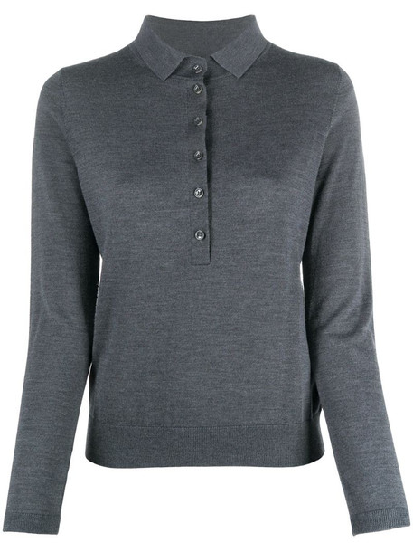 Allude long-sleeved button up polo shirt in grey