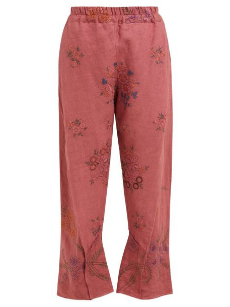 By Walid - Reyzi Floral Embroidered Linen Trousers - Womens - Pink