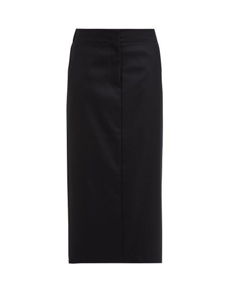 Raey - Elasticated Back Wool Midi Skirt - Womens - Black