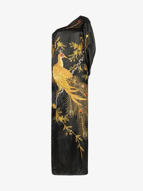 One Vintage One-shoulder embroidered silk dress in black