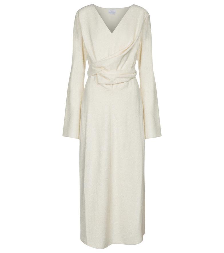 Deveaux New York Yvette wool-blend bouclé midi dress in white