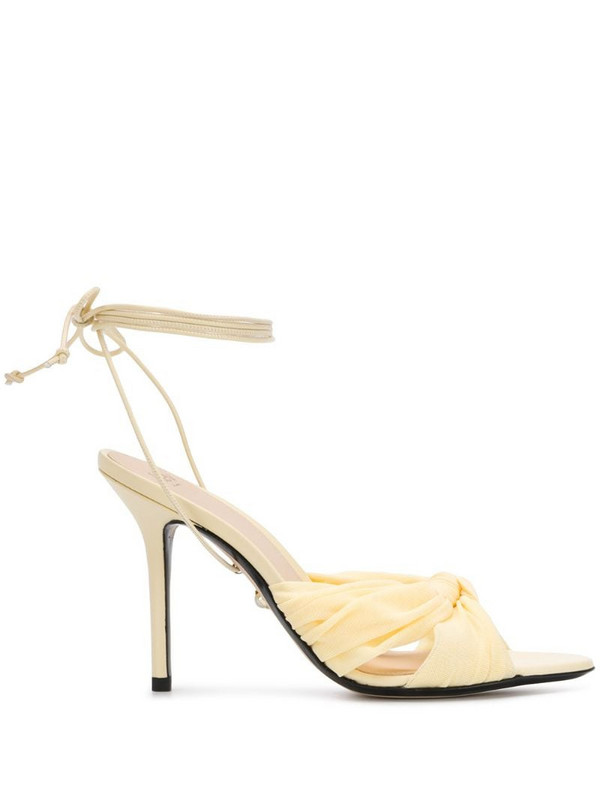 Alevì ankle tie heeled sandals in yellow