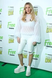 shorts,biker shorts,celebrity,ellie goulding,all white everything,sweater