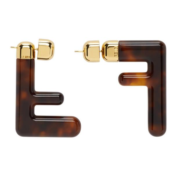 Fendi Brown Medium FF Earrings