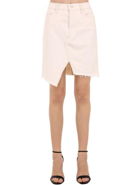 MOTHER The Tomcat Slide Cotton Denim Mini Skirt in white