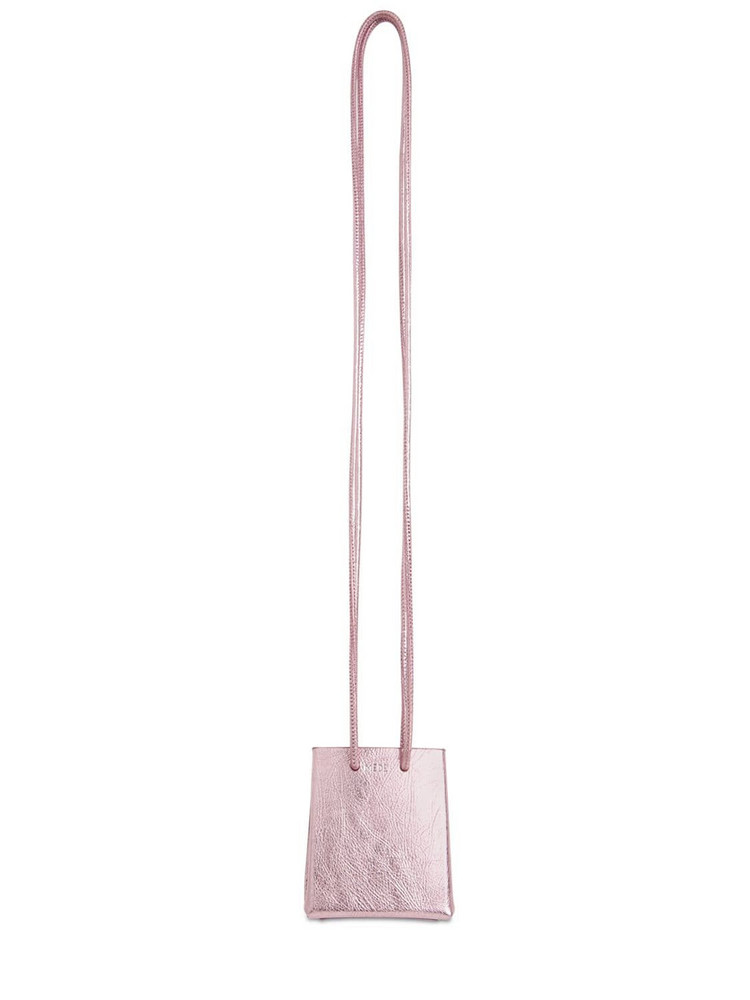 Mini Medea Leather Bag W/ Neck Strap in metallic / pink