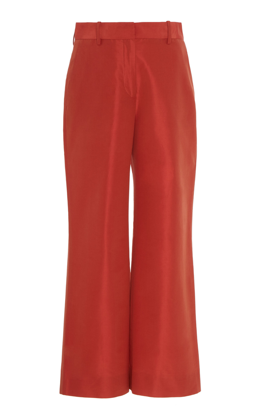 Mansur Gavriel High-Waisted Cotton And Silk Taffeta Cropped Pants in red