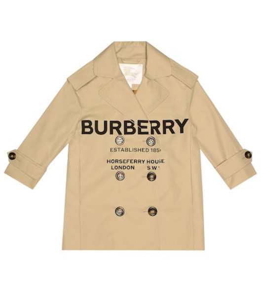 Burberry Kids Cotton gabardine trench coat in beige