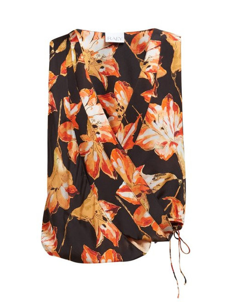 Raey - Cross Over Lily Print Silk Top - Womens - Red Print
