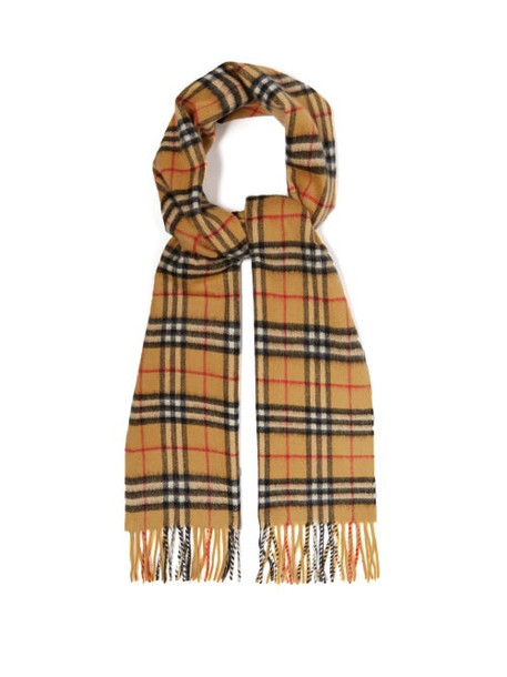 Burberry - Vintage Check Brushed-cashmere Scarf - Womens - Beige Multi