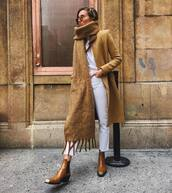 scarf,brown bag,ankle boots,cropped jeans,white jeans,white t-shirt,beige coat