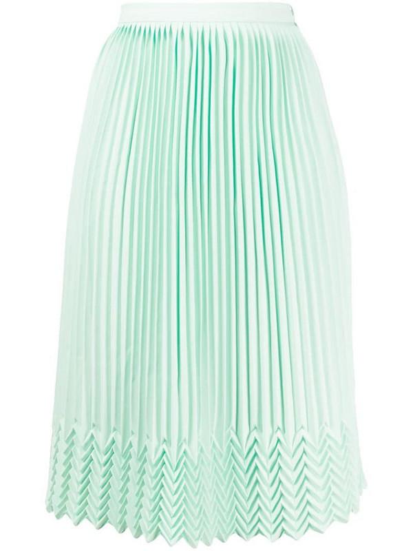 Marco De Vincenzo chevron detail pleated skirt in green