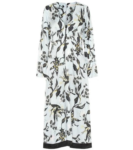 Dorothee Schumacher Tamed Florals silk-blend midi dress in blue