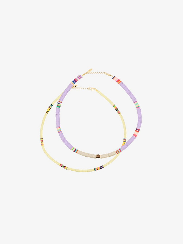 ALL THE MUST Multicolour Heishi necklace set in yellow