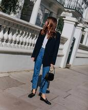 jeans,straight jeans,high waisted jeans,cropped jeans,loafers,black bag,black blazer,white t-shirt